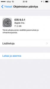 Applen iOS 8.0.1 -päivitys aiheuttaa vakavia ongelmia joissain laitteissa