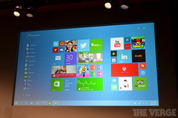 Kuva: The Verge Kosketunäytöllisten laitteiden kotinäkymä Windows 10:ssä