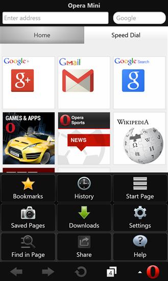 Opera Mini -selaimen aloitusnäyttö ja valikko