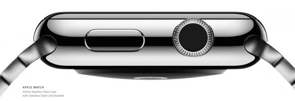 Nykyisten Apple Watch -mallien digitaalinen kruunu ja sivupainike.