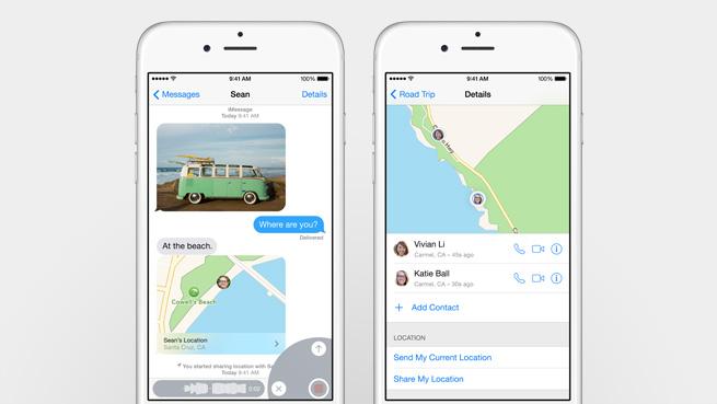 iOS 8:ssa viesteihin voi lisätä ääntä, videota tai sijainnin