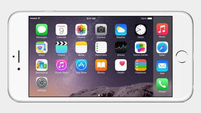 iPhone 6:ssa ja 6 Plussassa myös kotivalikko kääntyy vaaka-asentoon