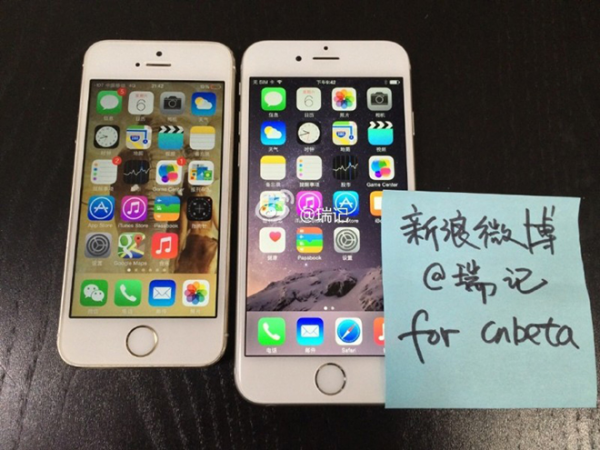 cnbeta: iPhone 5s ja iPhone 6 rinnakkain