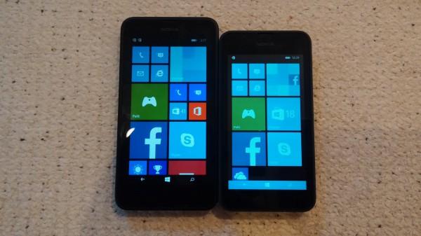 Vasemmalla Lumia 630 ja oikealla Lumia 530