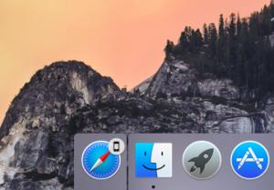 Kuvake kertoo, että iPhonella selataan nettiä. Klikkaus vie Macin samalle nettisivulle.