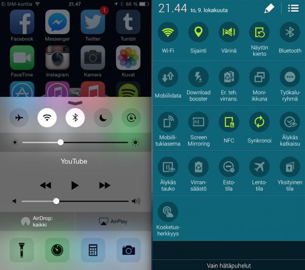 Vasemmalla iPhonen ohjauskeskus, joka on kätevä, mutta voisi olla vielä paljon kätevämpi, jos sen toiminnot olisivat käyttäjän muokattavissa. Oikealla Galaxy Alphan pikapainikevalikko, jonka saa avattua vetämällä kahdella sormella näytön ylälaidasta. Valikko on melkoinen sekamelska, mutta tarjoaa hyvin toimintoja, silloin kun suostuu aukeamaan.