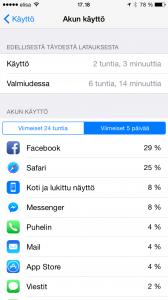 iOS 8 tarjoaa mahdollisuuden seurata sovellusten virrankulutusta