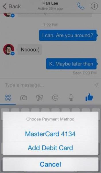 Kuvakaappaus Messengeriin piilotetuista maksuominaisuuksista