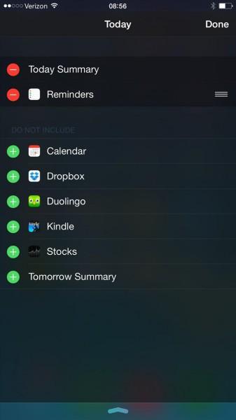 iOS 8.1 uudistaa ilmoituskeskuksen pienissovellusten asetusvalikon