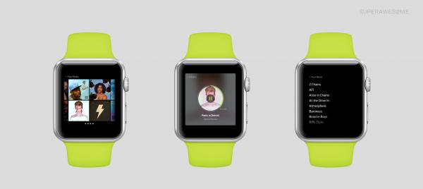 Taiteilijan näkemys Spotify-sovelluksen Apple Watch -versiosta
