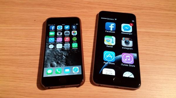 iPhone 6 perusnäkymällä ja 6 Plus zoomattuna