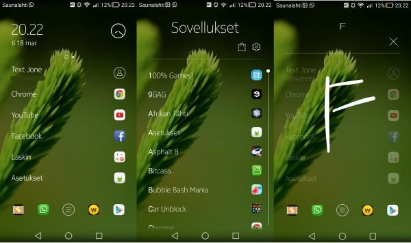 Nokia Z Launcher on hyvin yksinkertainen ja se jättääkin muut ominaisuudet sovellusten hoidettavaksi