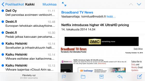 Sähköpostit näkyvät Plussassa kahdella palstalla