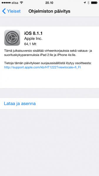 iOS:n versio 8.1.1