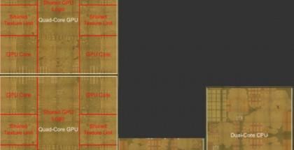 Hahmotelma Applen A8X-järjestelmäpiiristä. Oikeassa alalaidassa näkyy kaksiytiminen suoritin ja vasemmalla kaksi neljäytimistä grafiikkasuoritinta.