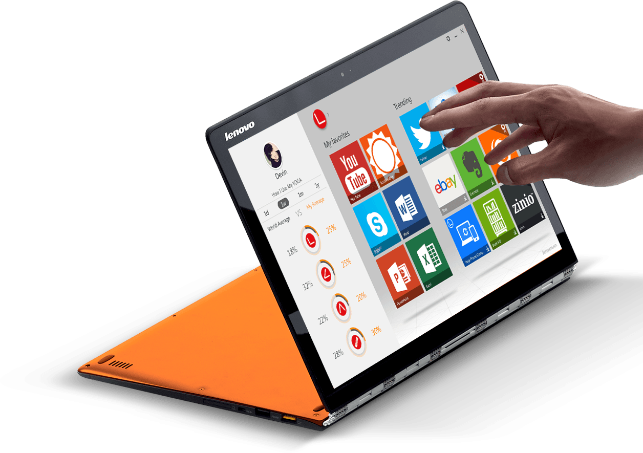 Lenovon Yoga 3 Pro -kannettava, jota mainoksessa vertaillaan Applen MacBook Airiin.