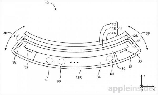Kuvan Applen patenttihakemuksesta taipuisalle mobiililaitteelle.