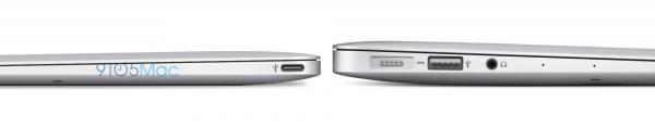 Uusi 12 tuuman MacBook Air olisi huomattavasti 11 tuuman nykymallia ohuempi. Kuvassa näkyy myös laitteen USB Type-C -liitin.