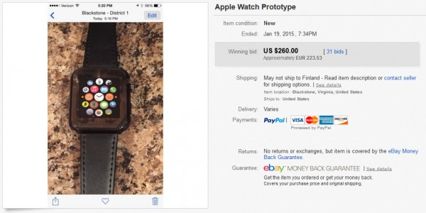 "eBayssa 19. tammikuuta myyty ""Apple Watch -prototyyppi"""