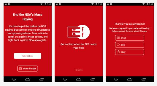 EFF:n sovellus on saatavilla Androidille, mutta ei iOS:lle, koska Applen sopimusehdot eivät miellytä digikansalaisten oikeuksia puolustavaa järjestöä.