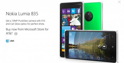 """Julkaisematon """"Nokia Lumia 835"""" ilmestyi Microsoftin verkkosivuille - todennäköisesti kirjoitusvirheen vuoksi."""
