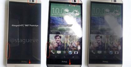Vuotokuvassa väitetty HTC One (M9) vasemmalla, keskellä edeltäjänsä One (M8)