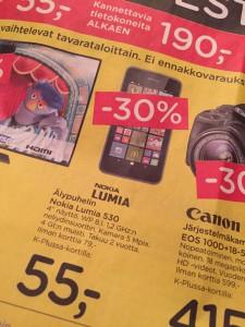 Myös K-citymarketissa Lumia 530 siirrettiin aleen viime viikolla