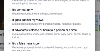 Facebook-käyttäjät voivat halutessaan ilmoittaa valheellisesta sisällöstä