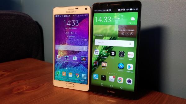 Samsung Galaxy Note 4 ja Huawei Ascend Mate7