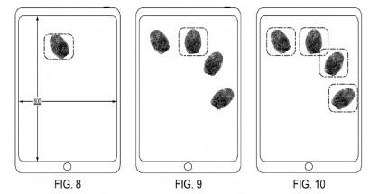 Kosketusnäytön sormenjälkitunnistusta käsittelevän patenttihakemuksen kuvamateriaalia