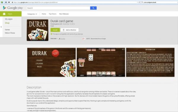 Korttipeli Durak on yksi adwarea sisältäneistä sovelluksista