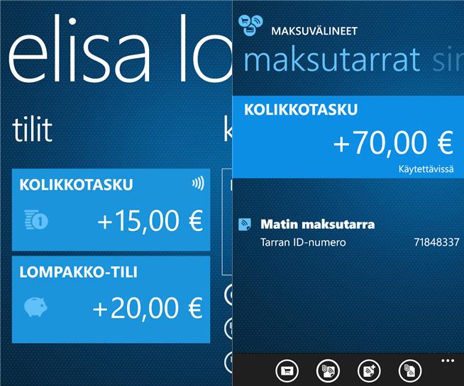 Kuvakaappauksia Elisa Lompakko -sovelluksen Windows Phone -versiosta