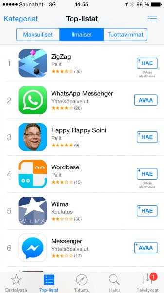 Ladatuimmat iOS-sovellukset Suomessa 11. helmikuuta 2015
