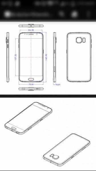 Samsung Galaxy S6:n vuotaneet mitat.
