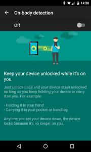 Androidin uusi On-body detection -lukitusmenetelmä