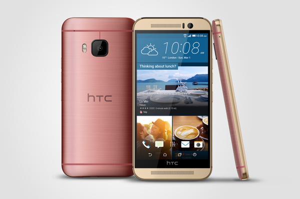 HTC One M9 vaaleanpunaisena