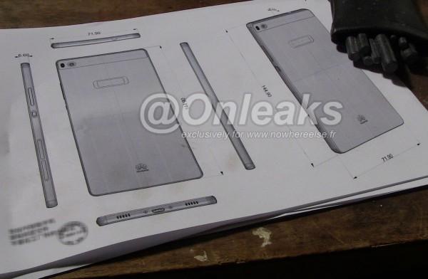 Huawei Ascend P8:n oletetut mitat kaavakuvana