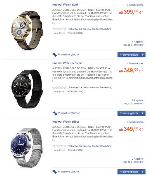 Saksassa nähdyt Huawei Watch -hinnat