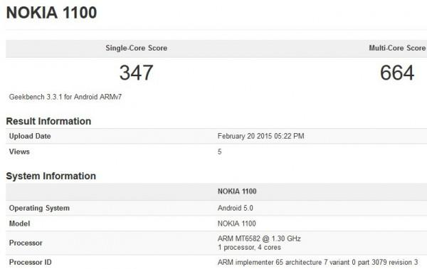 Nokia 1100 Geekbench