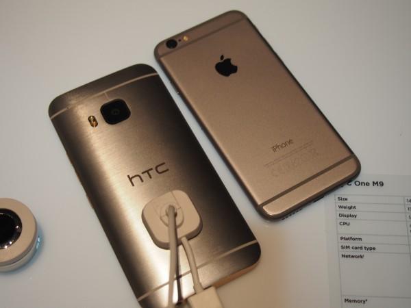 HTC One M9 ja iPhone 6 vierekkäin
