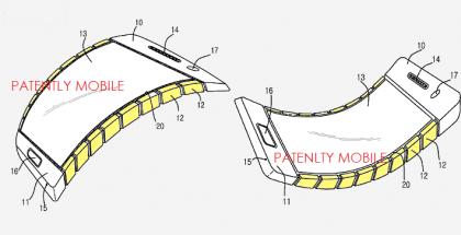 Samsungin patenttihakemus kuvaa taipuvaa puhelimen runkoa