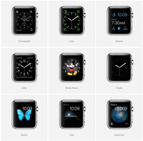 Eri kellotauluja Apple Watchille, joita voi säätää yksityiskohdista omiin mieltymyksiin