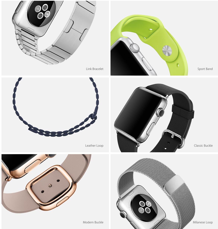 Apple Watchin erilaisia rannekkeita