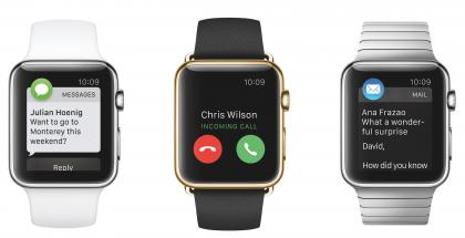Alkuperäinen Apple Watch eri versioinaan. Keskellä olevista lähemmäs parinkymmenen tonnin kultaversioista Apple on sittemmin luopunut.