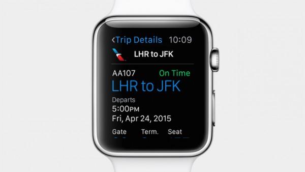 Apple Watch voi kaivaa lentoliput iPhonen Passbookista.