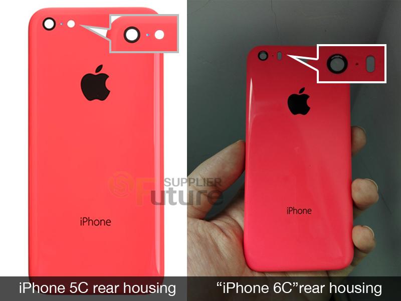 Vuotokuvassa iPhone 5C:n takakuori sekä väitetty 6C:n kuori.