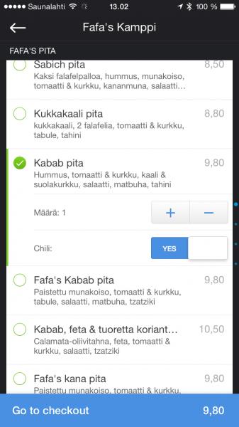 Listan vaihtoehdot voivat tarjota erilaisia lisäsäätöjä - itse tilasin Kabab pitan chilin kera