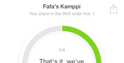 Parhaimpia seikkoja Woltissa ovat informaativiset päivityksen tilauksen etenemisestä. Ensin vahvistus tilauksen perillemenosta.