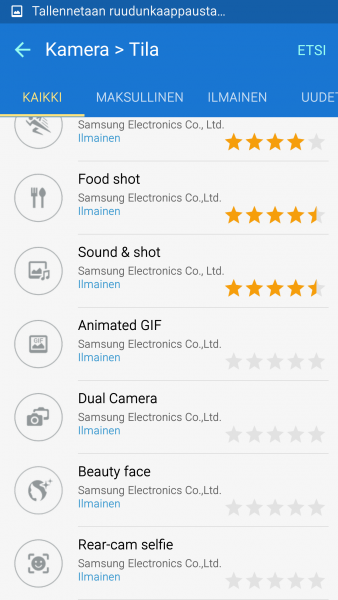 Galaxy S6:n kameran ladattavia tiloja.