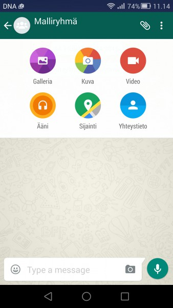 WhatsApp Material Design -ulkoasulla